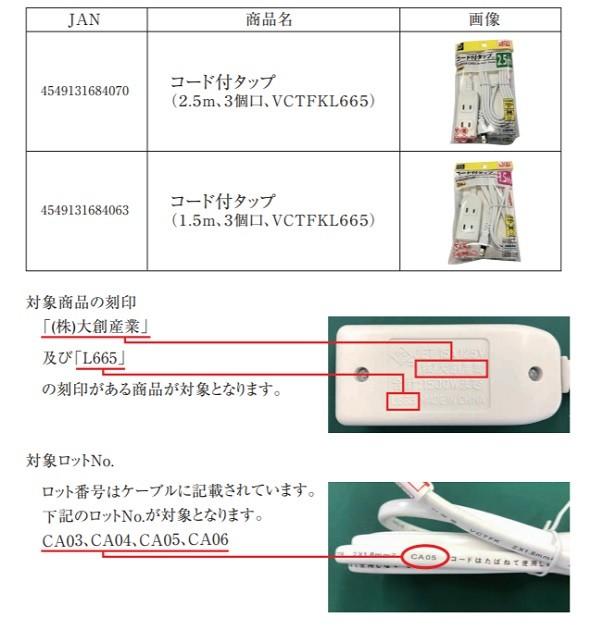 電源タップ コード付タップ ダイソー商品検索